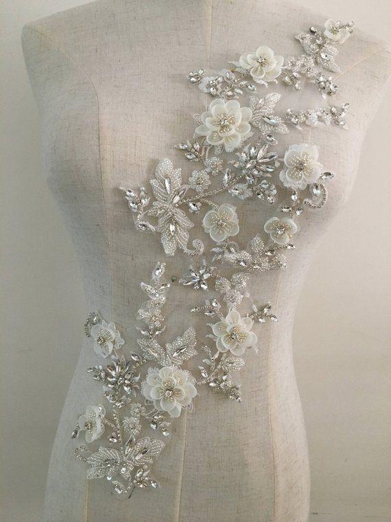 Exquisite 3d Rhinestone Beaded Bridal Lace Applique For Wedding