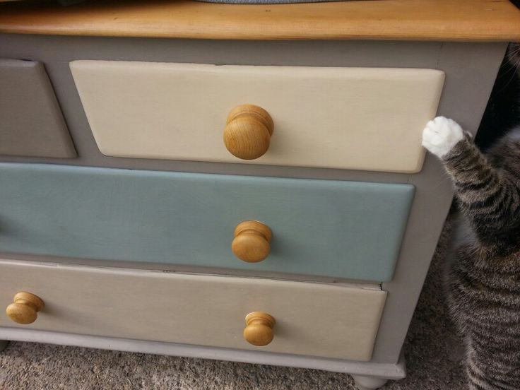 Annie Sloan painted and waxed multicoloured drawers