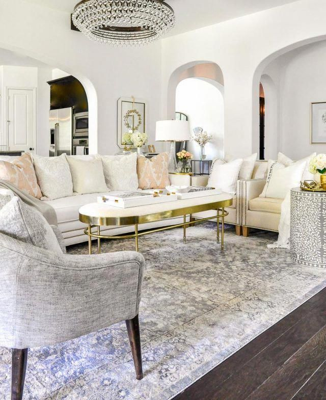 Beautiful White Gray Living Room Gold Accents Luxurylivingroom