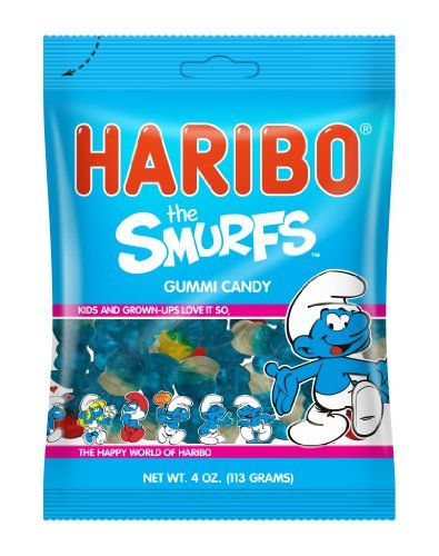 Haribo Candy, The Smurfs, 4 Ounce (Pack of 12) Haribo http://www.amazon.com/dp/B00A8A9H3S/ref=cm_sw_r_pi_dp_Tbyqvb0H5XF7Q