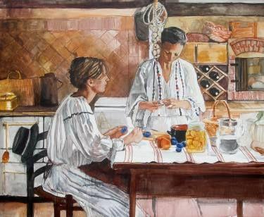 "Saatchi Art Artist Helena Janecic; Painting, ""Plum jam for winter, country girls forever"" #art"