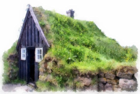 Icelandic Turf House  watercolour print by ArtbyOlafur on Etsy
