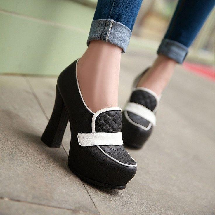 Women Platform Pumps Black and White Pu Leather Hi…
