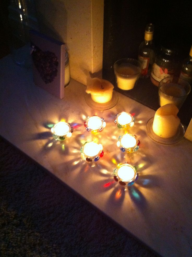 Glass Gem tea light holders when lit, so pretty x