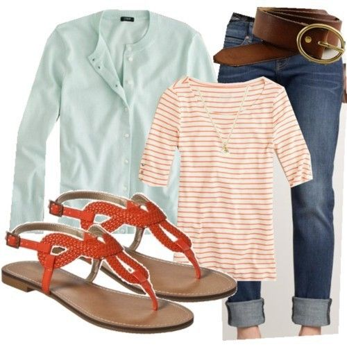 : Cardigans, Shoes, Colors Combos, Than, Summer Outfits, Sandals, Stripes, Spring Outfits, Summer Clothing