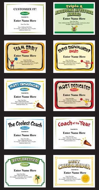 Cheerleading Certificates and Cheerleader Award Templates.  A perfect keepsake to recognize a great season of cheering. Personalize the text fields with names, team name, and words of praise. Cool!