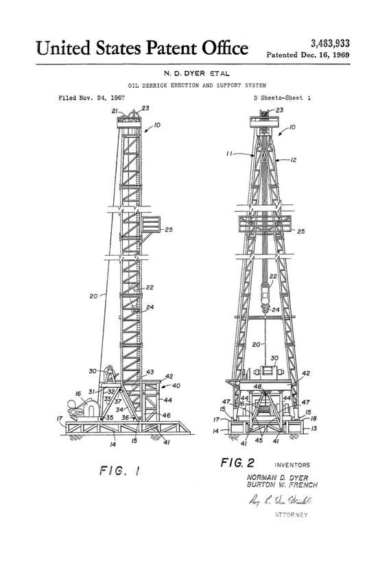 Oil Derrick Patent Decor Office Decor Patent Print Oil Etsy In 2020 Patent Prints Oil And Gas Office Decor