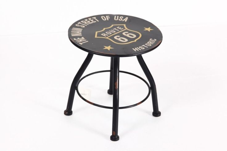 Yricas Design Black Vintage-Look 9.5 Inch Round Four Legged Stool #YricasDesign