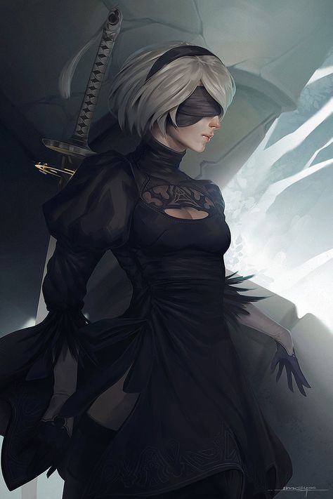 Nier Automata 2B fanart I have spend a lot time to study with contrast and value for better result in this piece well if you guys wanna see some processes, you can find out on my facebook account l...