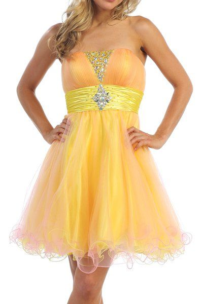 Yellow/Pink Tulle Dress Poofy Short Strapless Beading Empire Waist $147.99