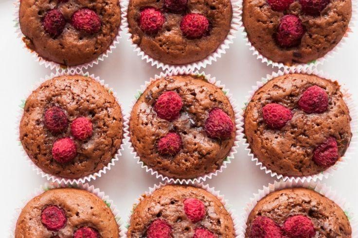 Muffin aux framboises et brisures de chocolat