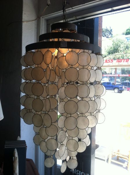 75 best capiz shell beauties images on pinterest chandeliers this unique 1960s capiz shell chandelier has three bands of brass on the top mozeypictures Gallery