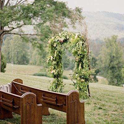 Simple and Fresh Arch | This casual, outdoor wedding arch takes advantage of the Smoky Mountain views. | SouthernLiving.com