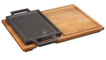 Öntöttvas lap 22x15cm fa tálcán LAVA, - Netedény webáruház - minden ami edény, konyha és lakásfelszerelés