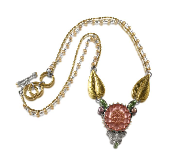 caracol inspired jewelry and handbags mars and valentine rose button necklace 29600 - Mars And Valentine