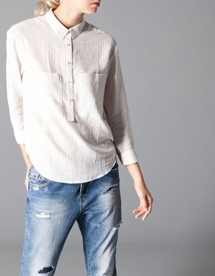 Рубашка в полоску с карманами