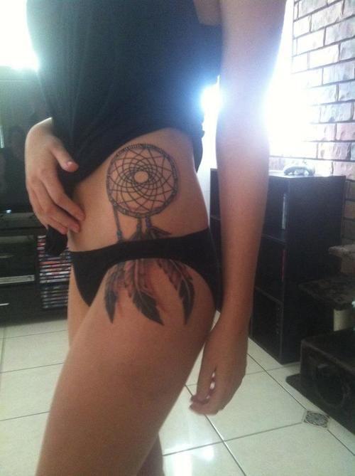 #Tattoo Tattoos Dream Catcher DreamCatcher Side Thigh tattoo tattoo design tattoo patterns|