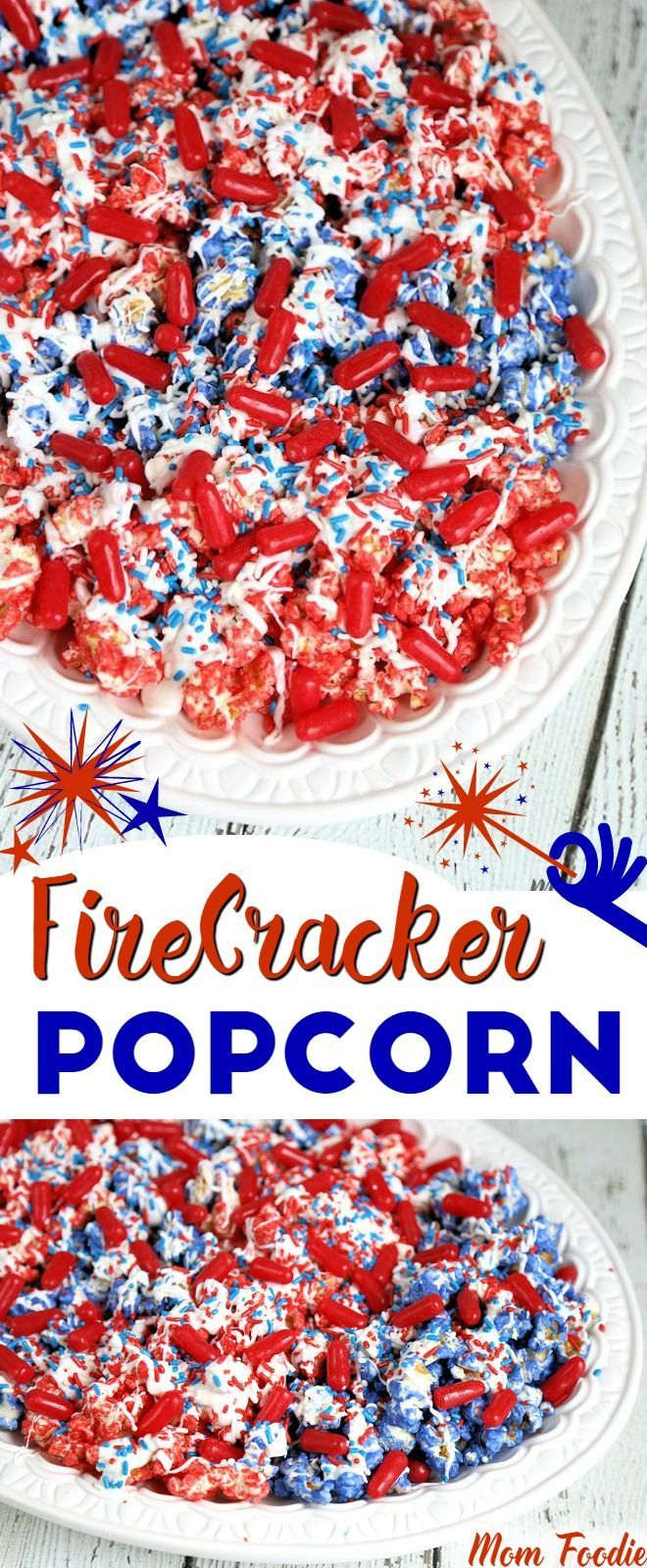 4th of July Popcorn Recipe - Red White & Blue Popcorn for Fourth of July and Memorial day.