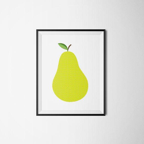 Green-yellow PEAR fruit frukt päron retro Art print by Itchyprints
