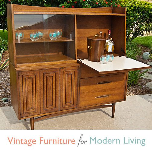 Vintage Broyhill Sculptra Dining Hutch Bar