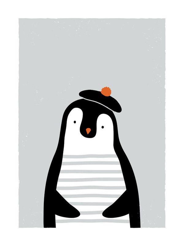 The French penguin Art Print