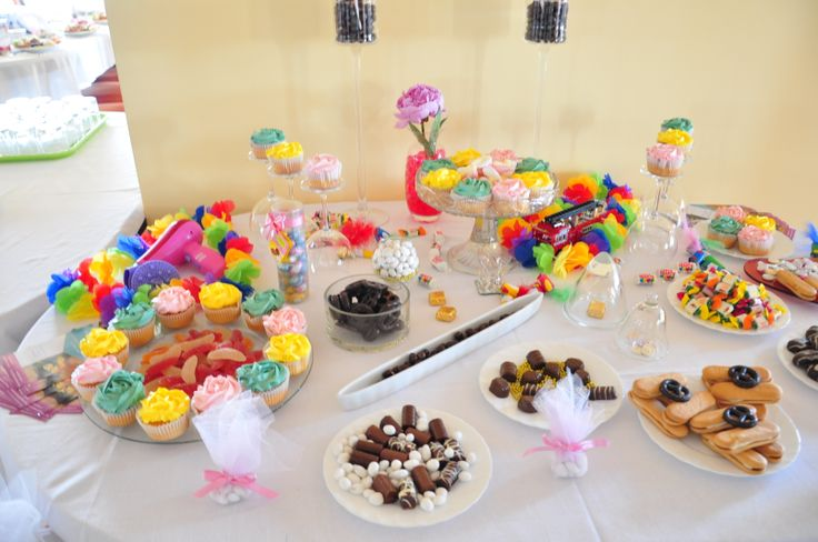 Rainbow candy bar, toys and sweets, the groom is a fireman, the bride hairstylist :)