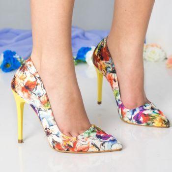 Pantofi stileto Pantofi dama Cersei galbeni cu flori cu toc
