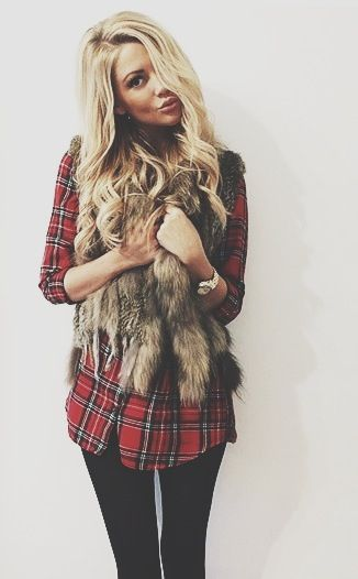 plaid + fur...maybe with leather leggings too...: