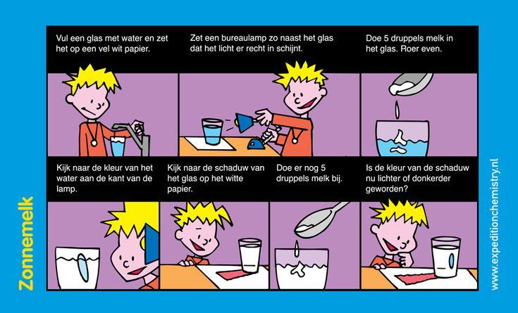 Ontdek welke kleur melk in water heeft als je er met een zaklamp op schijnt.