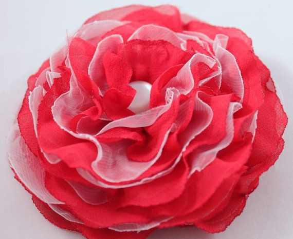 Red white brooch flower soft veil red tango by CrystalHandmade, $14.00