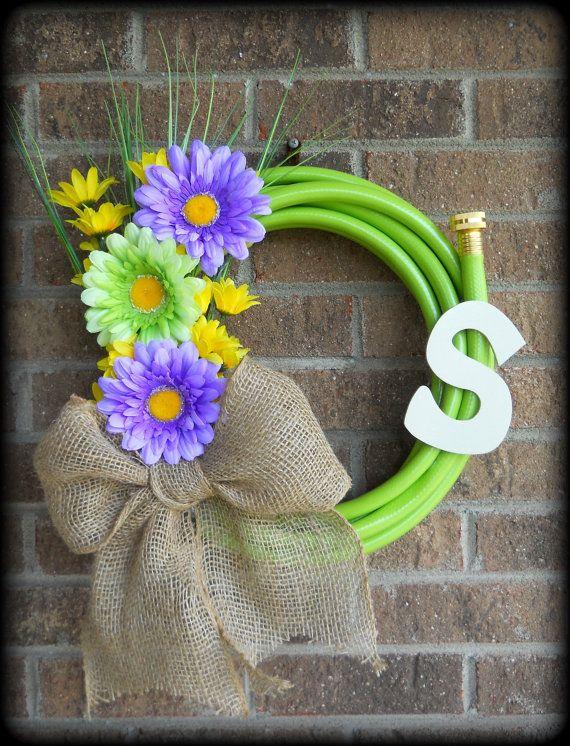 Water Garden Hose Wreath with flowers by MitchellMommyCrafts, $46.00
