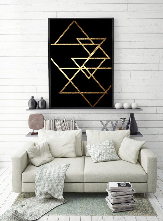 Abstract Print Poster, Gold Triangles Print, Geometric Print Poster, Minimalist Poster, Triangles Print, Triangles Wall Art, Faux Gold.