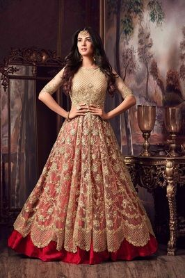 5b52cbbe44 Golden embroidered net anarkali suit semi stitched in 2019 ...