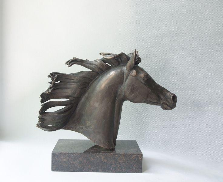 "Голова Арабской лошади ""Свобода"". 2015. Бронза, гранит. #араб #арабскийскакун #скульптура #скульптуралошади #портрет #лошадь #бронза #art #horse #bronze #art #equine #Equineart #arab"