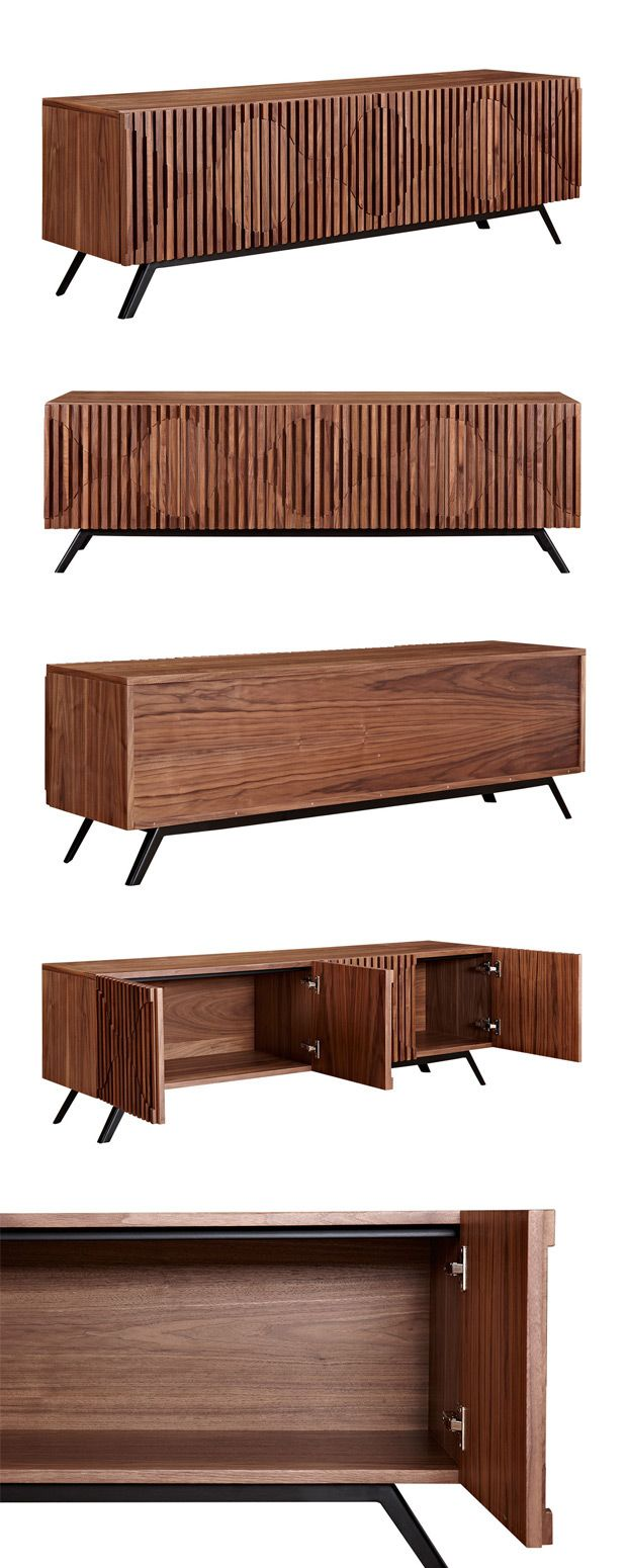 Add intrigue to your modern or transitional living space with this stunning, mid-century–inspired Holloway Sideboard. It's gorgeously finished walnut wood top is beautifully textured and boasts a subtl...  Find the Holloway Sideboard, as seen in the The Great Seating & Sideboard Sale Collection at http://dotandbo.com/collections/the-great-seating-and-sideboard-sale?utm_source=pinterest&utm_medium=organic&db_sku=115623