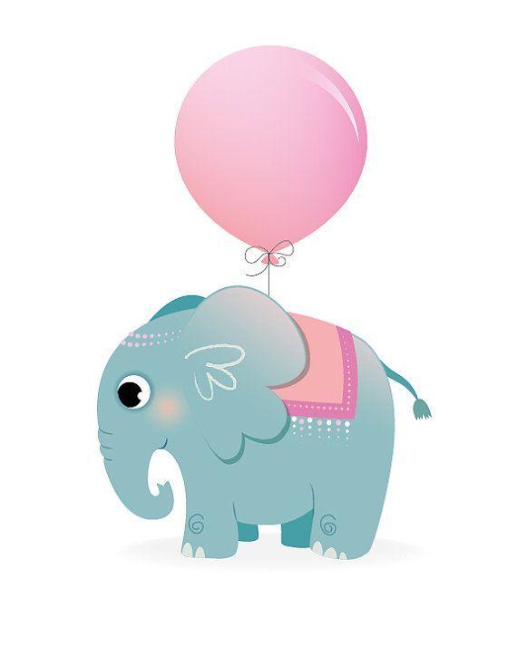 Elephant nursery print, safari animal, nursery art, pink nursery, balloon, new b…