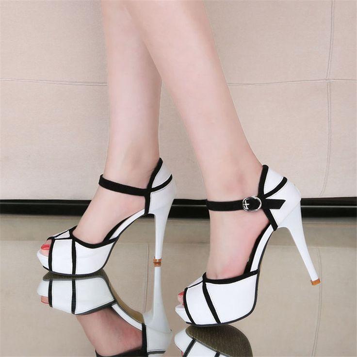 Free shipping summer women's open toe buckle mixed colors high heel shoes  all-match thin. ChaussureTalons FemmesTalons Hauts ...