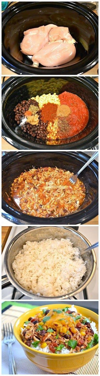 Crock Pot Taco Chicken Bowls Ingredients: 1½ lbs. chicken breasts 1 jar salsa 1 can black beans, drained ½ lb. frozen corn 1 Tbsp chili powder ½ Tbsp cumin ½ Tbsp minced garlic ½ tsp dried oregano ¼ tsp cayenne pepper ¼ tsp salt to taste cracked pepper 2 cups dry rice 8 oz. shredded cheddar ½ bunch cilantro (opt