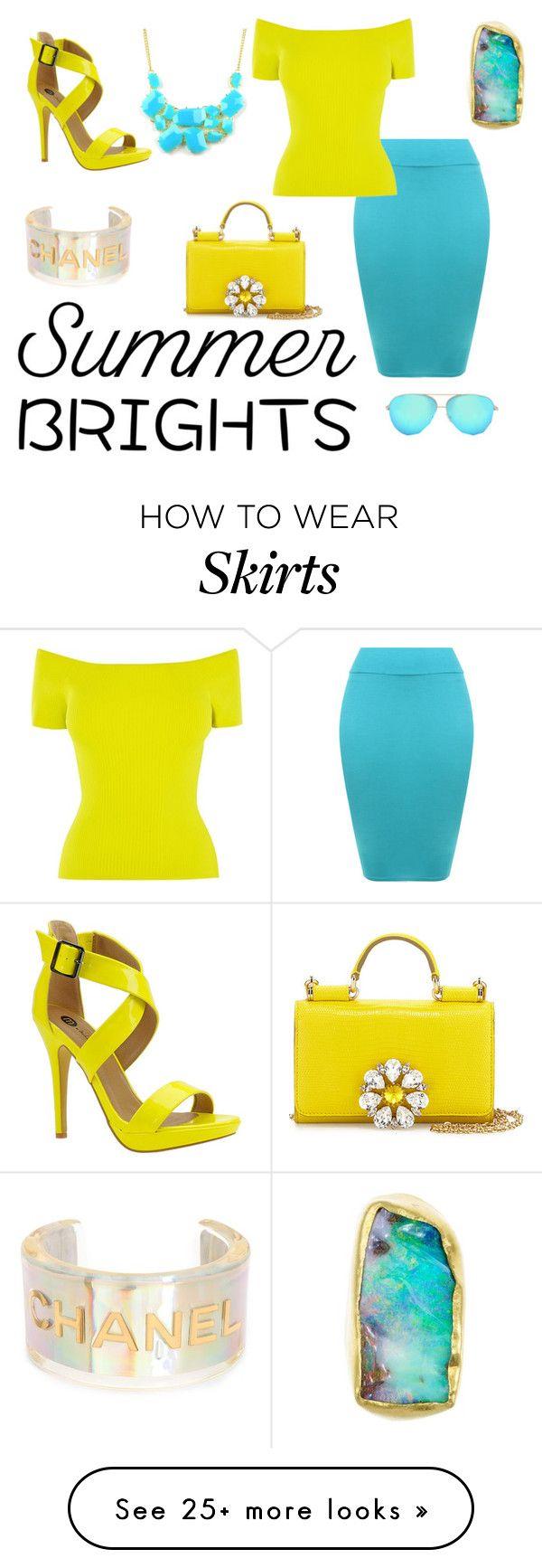 """Bright skirt"" by aundreathecuban on Polyvore featuring WearAll, Chanel, Karen Millen, Dolce&Gabbana, Michael Antonio, Victoria Beckham, Emi Jewellery and summerbrights"