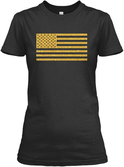 Gold Glitter American Flag T Shirts Black Women's T-Shirt Front