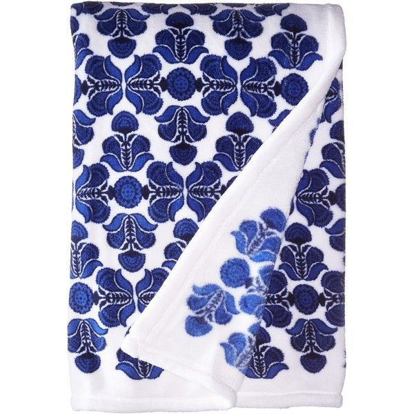 Vera Bradley Throw Blanket (Cobalt Tile) Blankets ($49) ❤ liked on Polyvore featuring home, bed & bath, bedding, blankets, vera bradley blanket throw, bright blue bedding, cobalt blue bedding, polyester blanket and vera bradley bedding