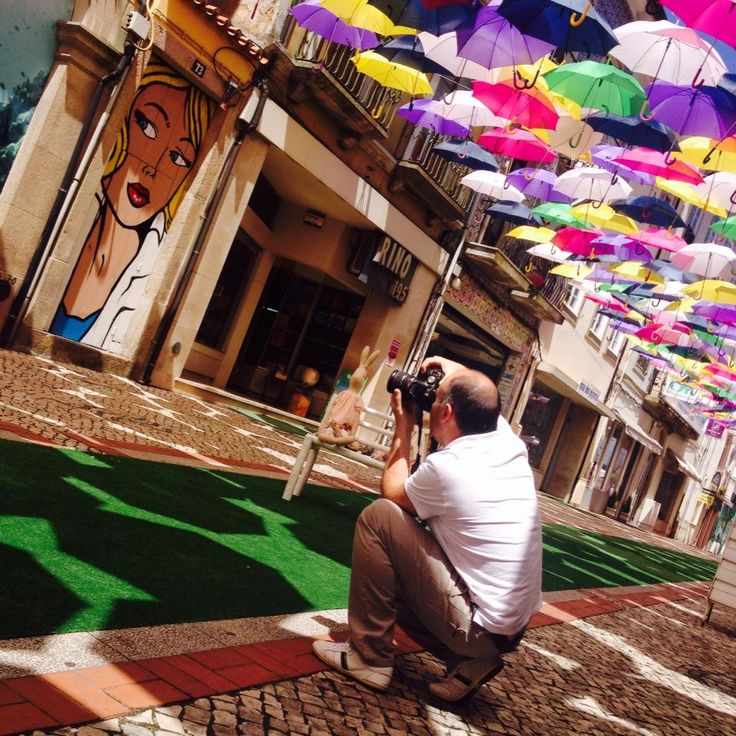 "More ""clicks"" around the colored streets of Águeda :) #Agueda #Agitagueda2014 #Art #streets #umbrellas"