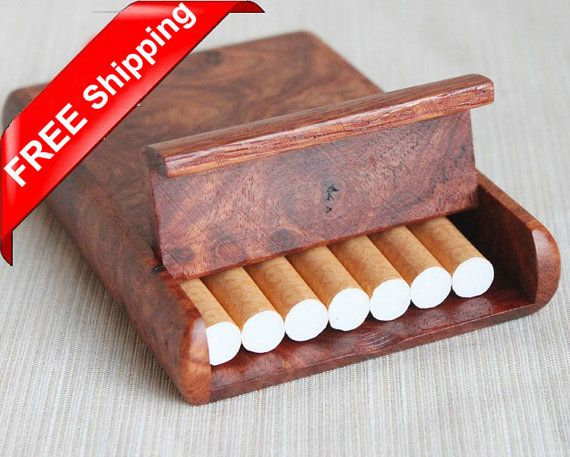 Rosewood Burl Cigarette Box Card Case 7 load Free shipping on Etsy, $28.50