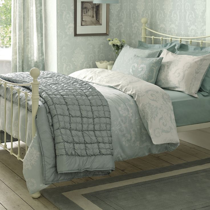 Josette Duck Egg Cotton Duvet Cover at Laura Ashley