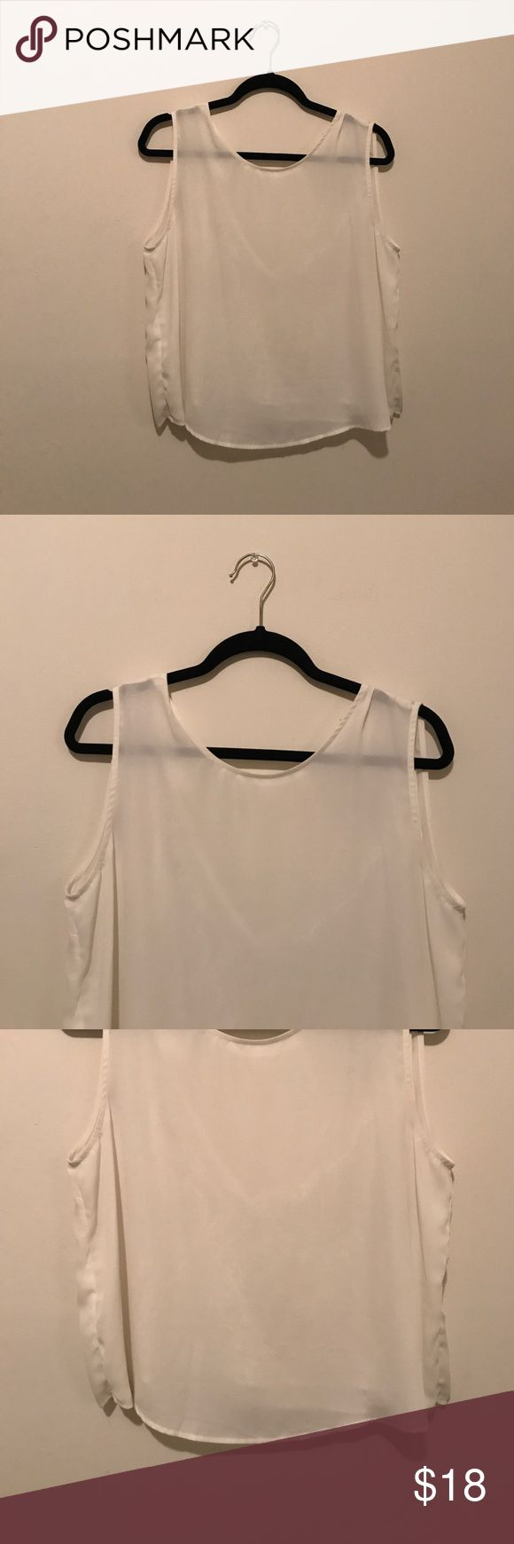 MNG by Mango Suit Sleeveless Blouse White sleeveless Blouse that has only been worn once and goes great underneath blazers. Also great for summer because it is light weight. Has a v cut in the back with delicate lace. In excellent condition and from a smoke free home. Mango Tops Blouses