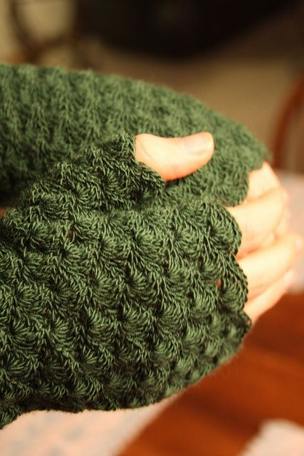 oooh, not only are these a great color, the yarn looks so soft and the pattern is beautiful.  lovely!!