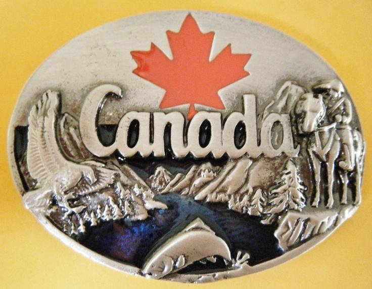 Canada Canadian Canadien Maple Leaf  Mounties Flags Belt Buckles