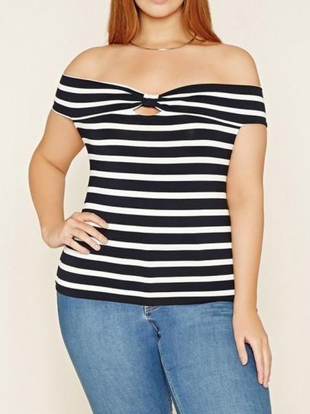 0d7f3dc1bc Plus Size Bow One Shoulder Stripe T-shirt  15.99