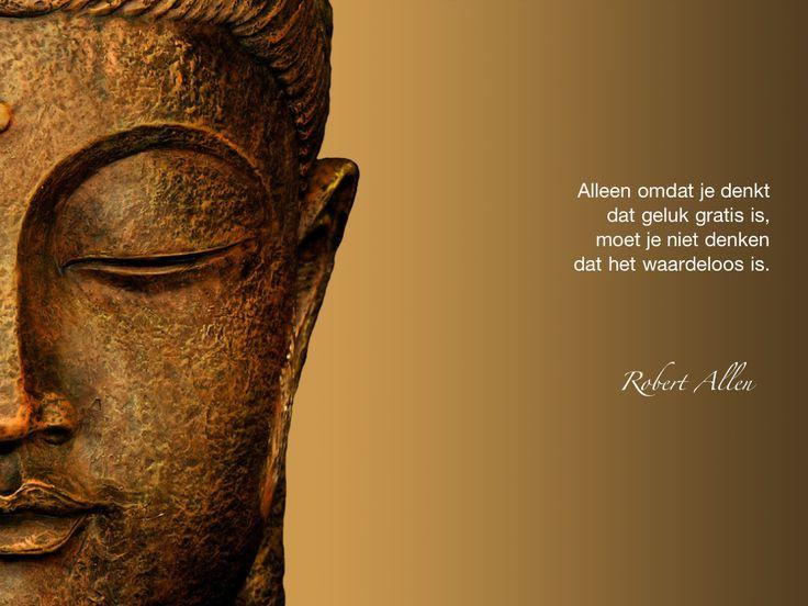 Alleen omdat je denkt dat geluk gratis is, moet je niet denken dat het waardeloos is. / Robert Allen