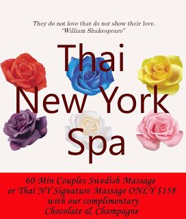 Valentine's Spa Special time for your loved ones with best gift couples massage@Thai New York Spa: Give you and your loved an unforgettable gift. Feb...